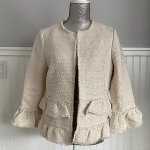 Ann Taylor Ruffle Tweed Blazer Jacket Cream 8